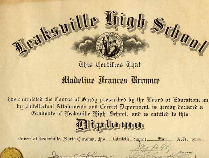 1944 Leaksville Nc High School Diploma